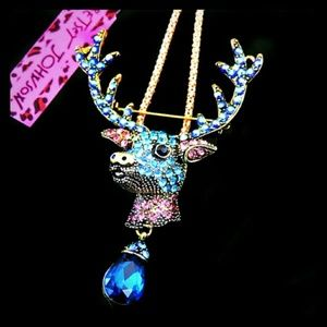 Awesome Betsey Johnson Deer Necklace